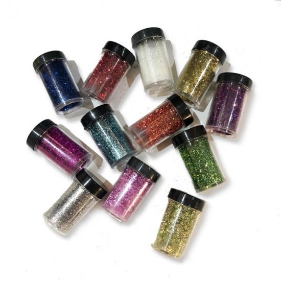 Small Tins of Fine Colored Glitter 12 ml