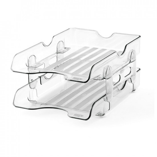 Document Tray MAS Two Tray Plastic Smoked Transparent