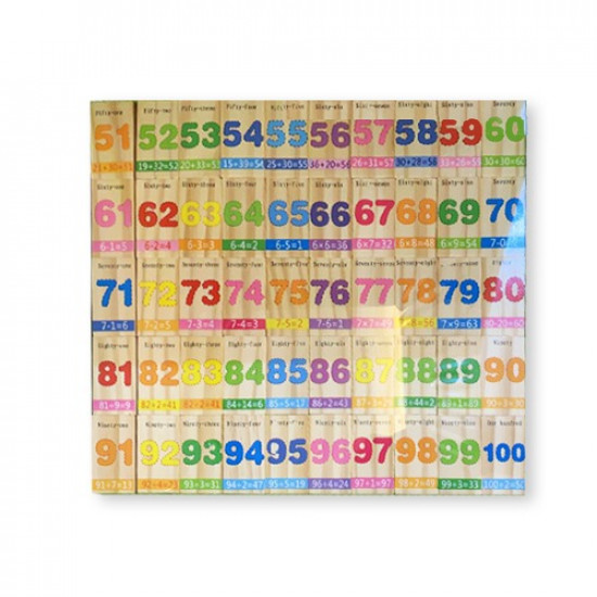 Wood Toy E letters And Number Domino 100 pcs