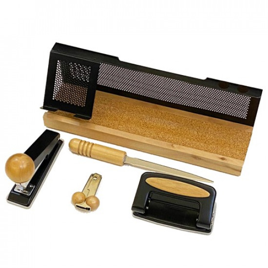 Office Set Beige Wood and Black Metal 5 PCs with Phone Holder