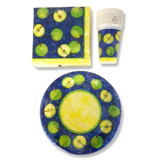 Set of Plates,Cups and Napkins for Parties Apple