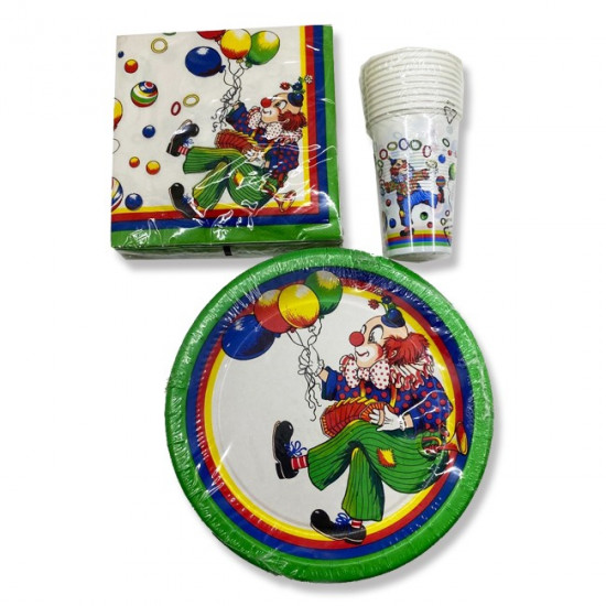 Set of Plates,Cups and Napkins for Parties Clown