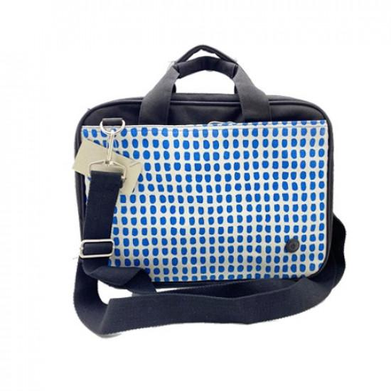 PC Bag 2 Zipper 14x10 inch Black White Dotted Blue
