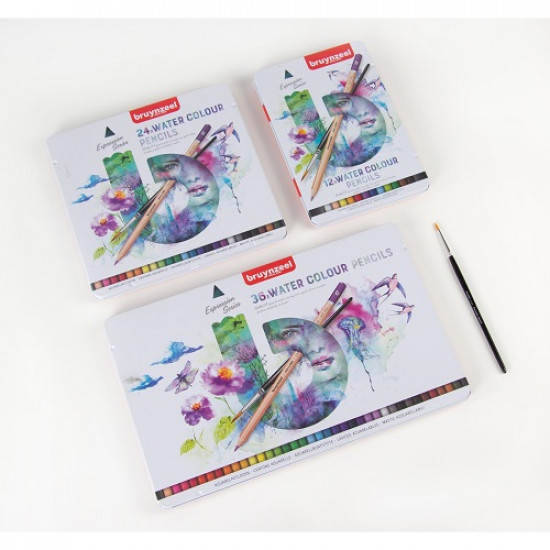 Watercolor Pencils BRUYNZEEL With Brush 12 Colors