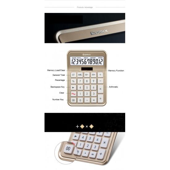Office Calculator Pink 12 Digits COMIX C-8s