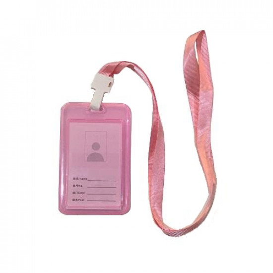 Card Holder Plastic Longitudinal Double Sided With Rope 54×85 mm Transparent Pink