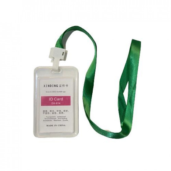 Card Holder Plastic Longitudinal Double Sided With Green Rope 54×85 mm Transparent