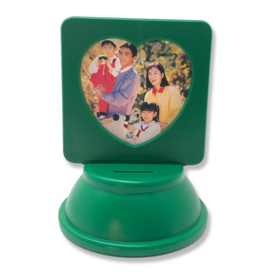 Heart-shaped frame for children with a money box