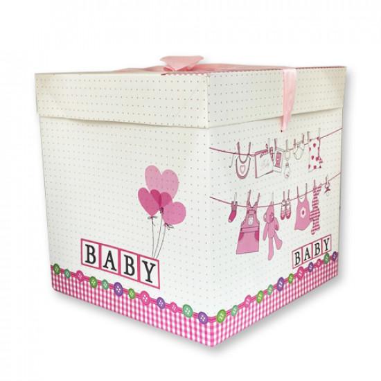 Gift Box Paper 22x22 cm Pink