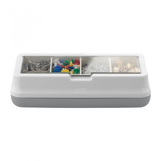 Box of Paper Clips, Pins, and Push Pins Metal Gray