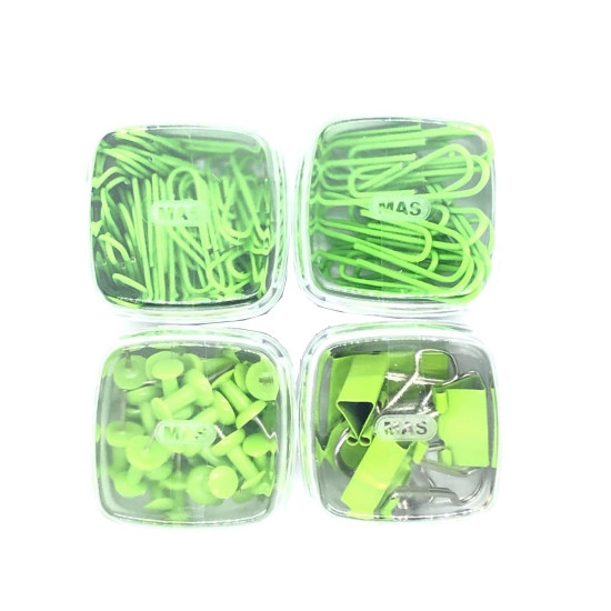 Boxes of Push Pins, Binder Clips, and Paper Clips MAS Green
