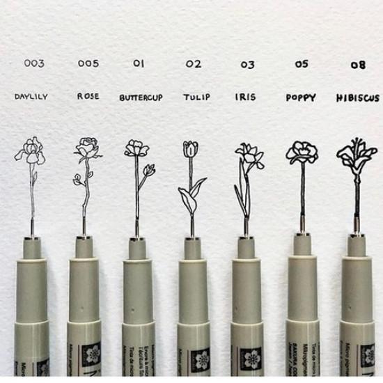 Black PIGMA Pens Set 6 Sizes SAKURA