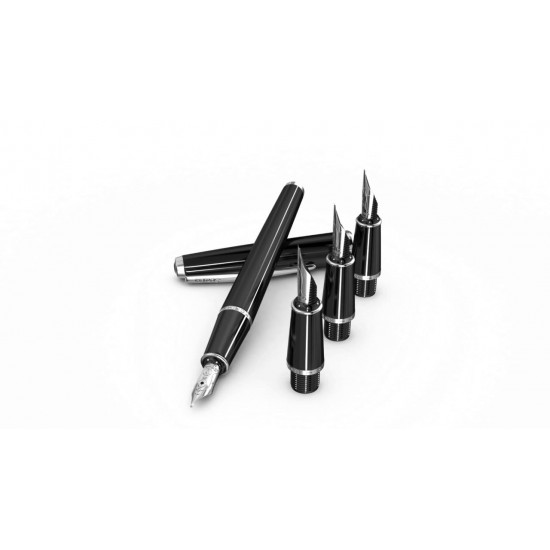 Calligraphy Pen Black Set Liquid Ink with 4 Feathers SCRIKSS