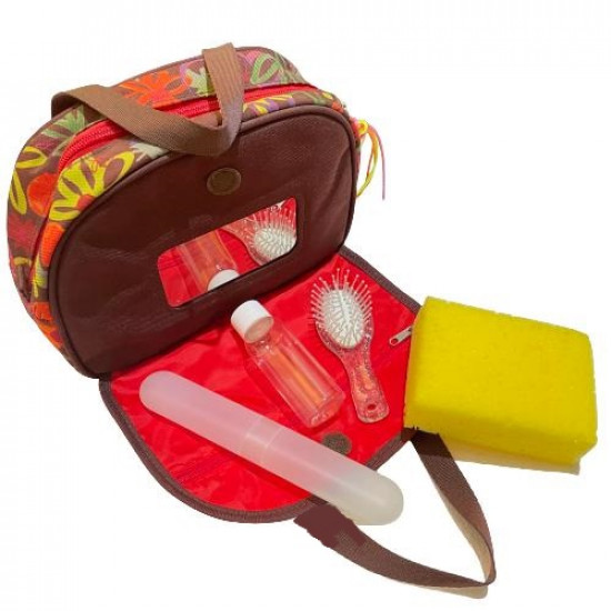 Handbag for Children with Personal Care Tools Brown and Crange