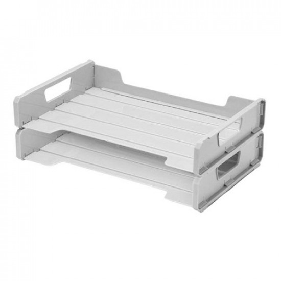 Side Opening Double Document Tray Grey METRO