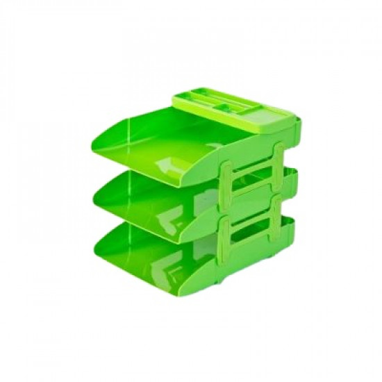 Phosphorescent Green Plastic Document Rack With Organizer Tray 3 Layers METRO