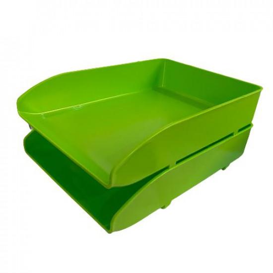 Document Tray METRO Two Tray Plastic Phosphorous Green