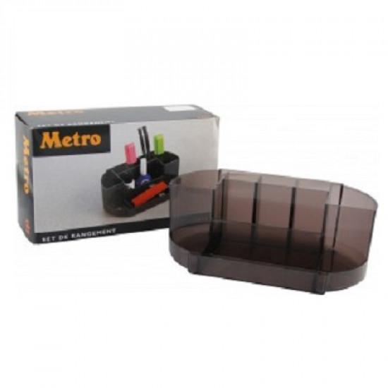 Executive Desk Organiser Green Transparent METRO 9 Compartments