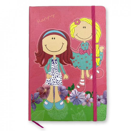 Memo Notebook 14x21 cm with Rope lined Girls Shapes