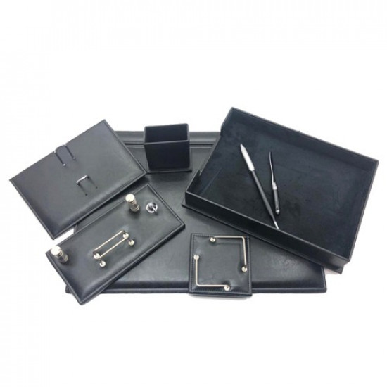 Office Set Black Luxury Leather 9 PCs Crocodile Design GULPAS 910