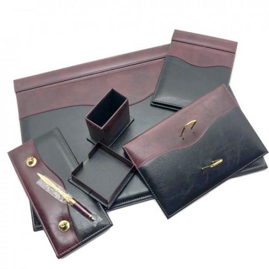 Office Set Black and Burgundy Leather 7 PCs 911 GULPAS
