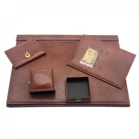 Office Set Brown Luxury Leather 5 PCs GULPAS 910