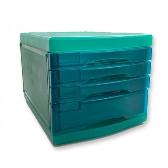 Desktop Drawers Plastic Turquoise Transparent 4 Drawers