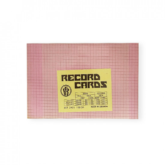 Record Cards 8x5 inch 100 Sheet Pink Squares